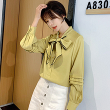 2019 Autumn Women Shirts Bow Full Sleeve Loose + Small Sweet Wind Design Niche