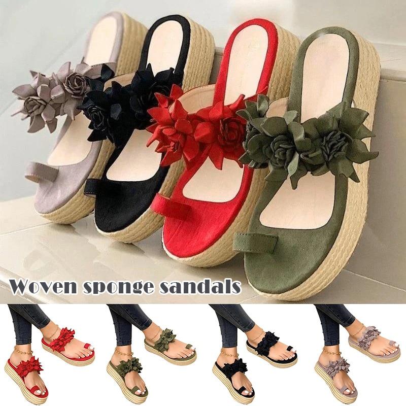 Newly Women Casual Flower Platform Sandals Slip-on Daily Beach Travel Sandals Slippers DO99