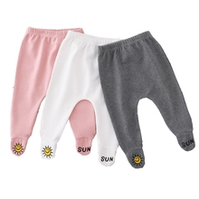 Spring Autumn Baby Foot Pants Cotton Baby Girls Boys Footprinted Mid Waist Trousers Casual Bottom PP Pants Newborn Baby Leggings