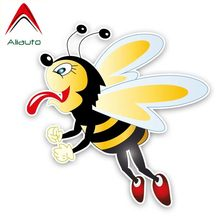 Aliauto Funny Car Sticker A Greedy Bee Decal Accessories PVC Cover Scratches for Volkswagen Polo Ford BMW Audi Toyota,14cm*14cm(China)