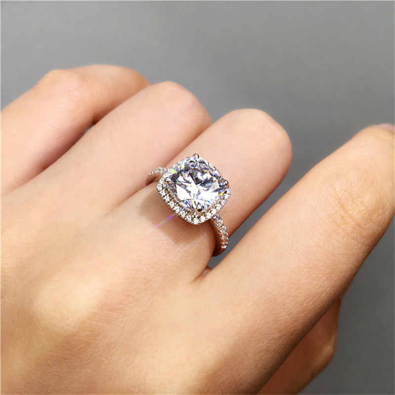 Real Silver Ring have Certificate as Proof! Natural 3 Carat Zirconia Stone Fine Jewelry 925 Silver Wedding Rings For Women LHR55