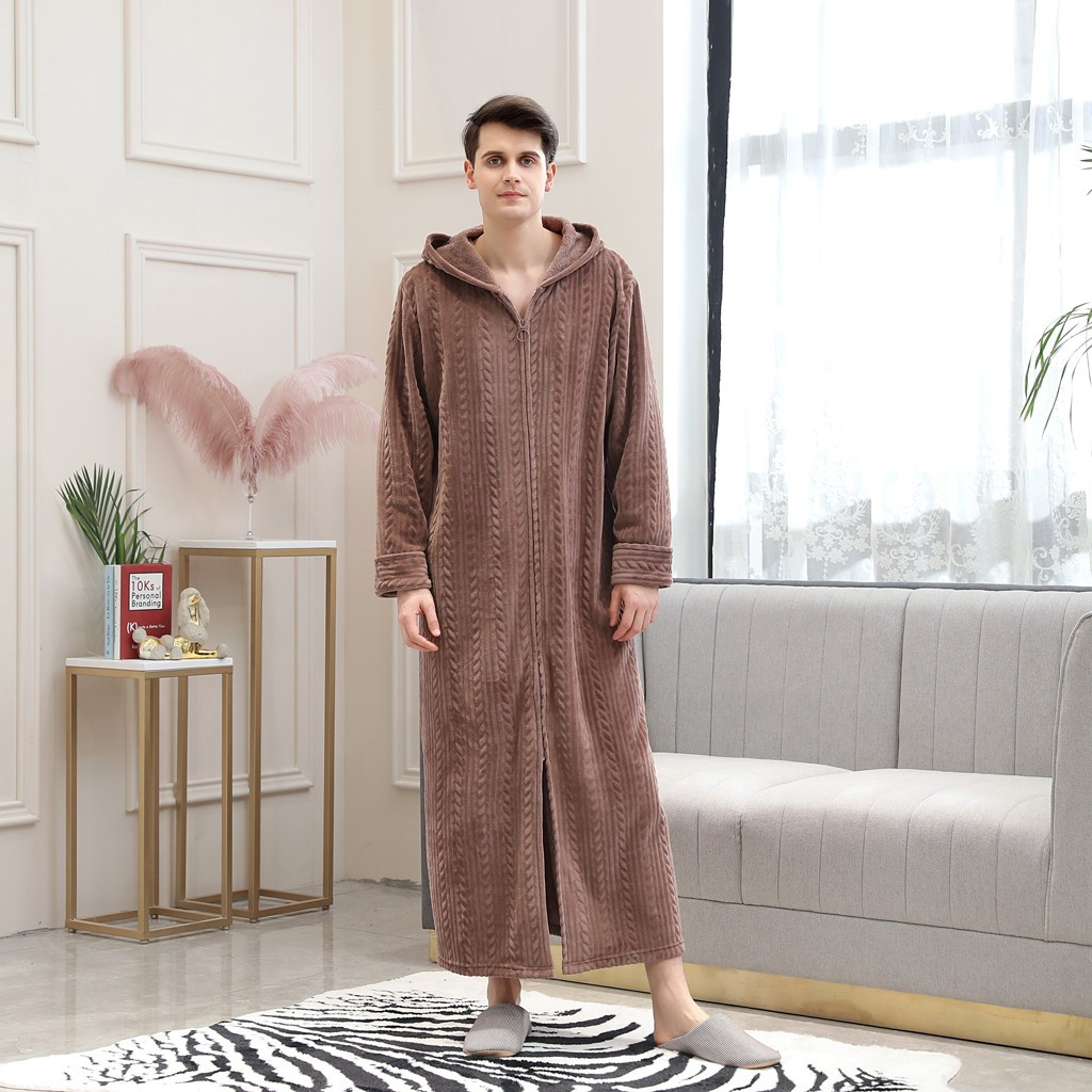 Men's Lengthened Pajamas Winter Splicing Home Clothes Long Sleeved Thick Robe Coat Stitching Bathrobe Soft Pajamas