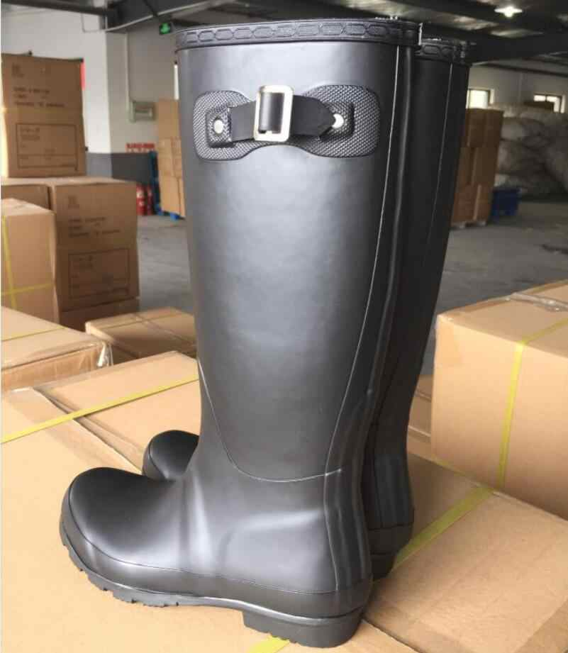 European New Vogue High Rain boots Rubber Boots Galoshoes Overboot Waterproof Water shoes  with Sock Antiskid Matte Color Black