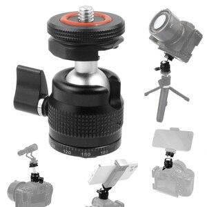 Image 5 - Hot Shoe Mount Mini Balhoofd 360 Panoramisch Monitor Houder Camera Pan Tilt 1/4 Koud Schoen Adapter Voor Statief Licht flash Bracket