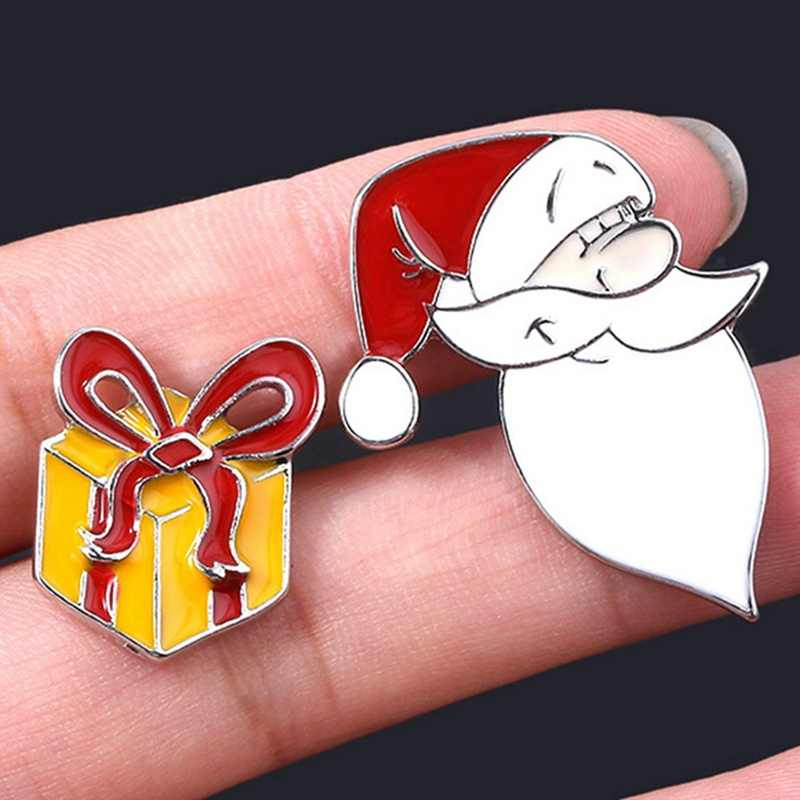 Christmas Jewelry Accessories Fashion Santa Claus Gift Box Charms Enamel Brooches Christmas Cartoon Brooch Pins