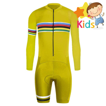 6 Colors Pro Speedsuit Childrens Cycling Skinsuit Long Sleeve Triathlon for Kids Trisuit Racing Clothing