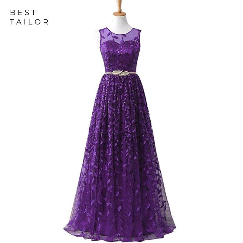 Evening Dresses Purple Leaf Lace Sashes Sheer Neck A-Line Women Long Formal Gowns Vestidos De Fiesta De Noche Robe De Soiree