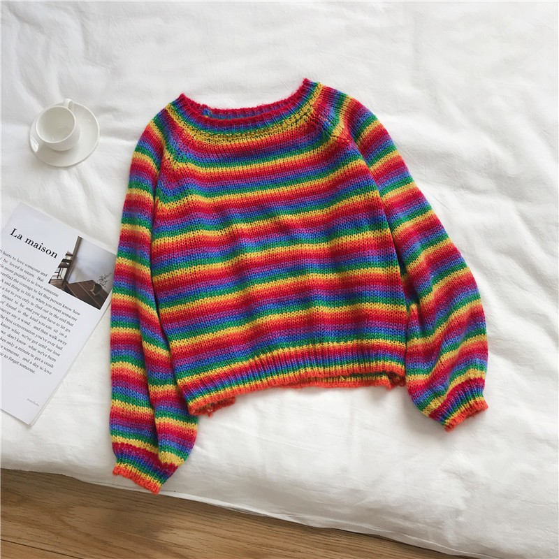 2019 Women Sweaters Autumn Colorful Stripes Print Slim Long Sleeved Girl Zipper Collar Slim Bottom Knit Sweater