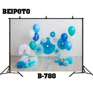 Детские Вечерние Декорации на 2 дня рождения с синим воздушным шаром для портретной фотосъемки для детей 2 лет