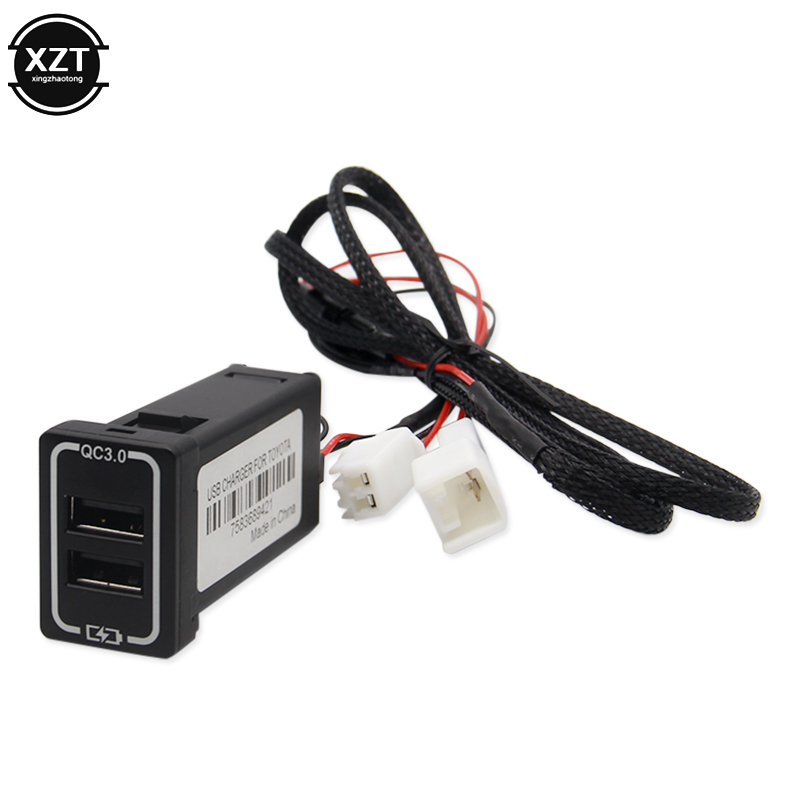 QC3.0 Quickcharge <font><b>Car</b></font> Charger Double <font><b>USB</b></font> Phone PDA <font><b>DVR</b></font> Adapter Plug & Play <font><b>Cable</b></font> For Toyota image