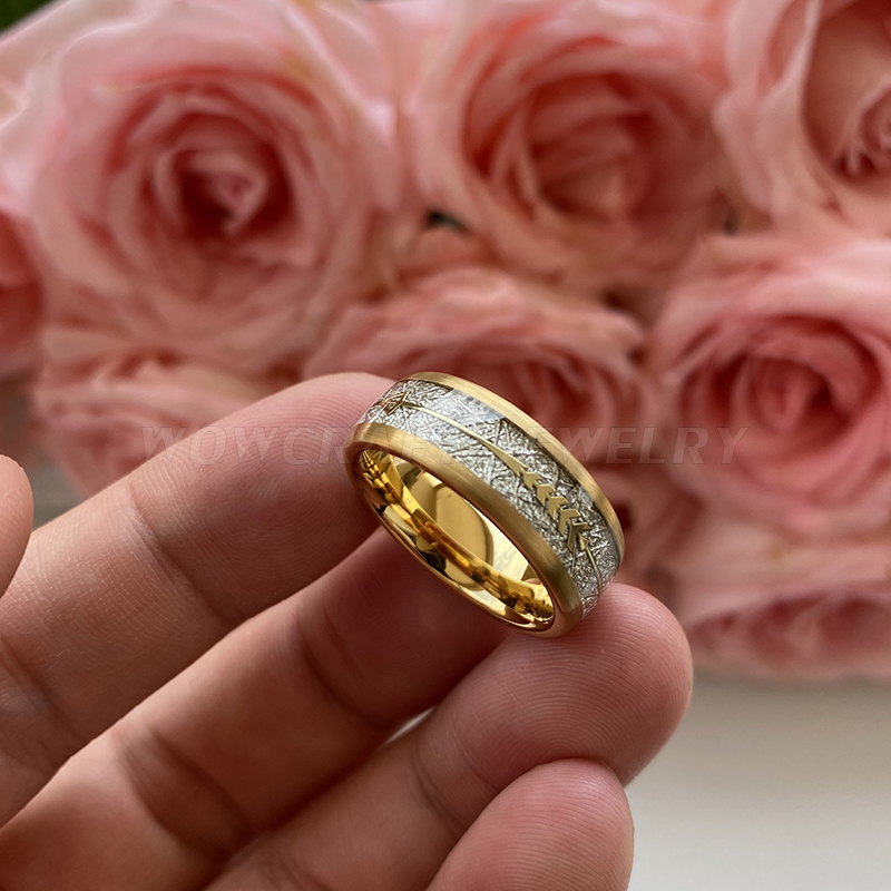 8mm New Cool Gold Mens Tungsten Carbide Ring Womens Wedding Band Meteorite Gold Arrow Inlay Comfort Fit 2