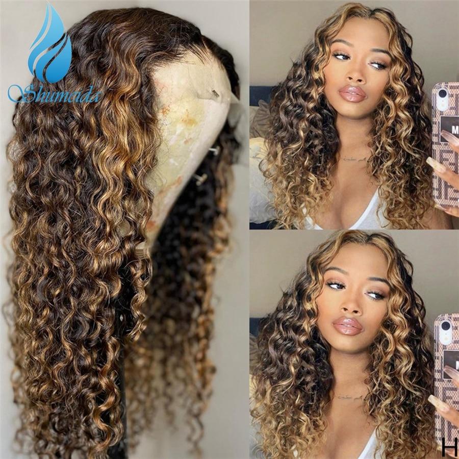 Perruque Lace Front wig Remy brésilienne bouclée, couleur marron à reflets, avec Baby Hair, nœuds décolorés, pre-plucked, pour femmes, densité 200%