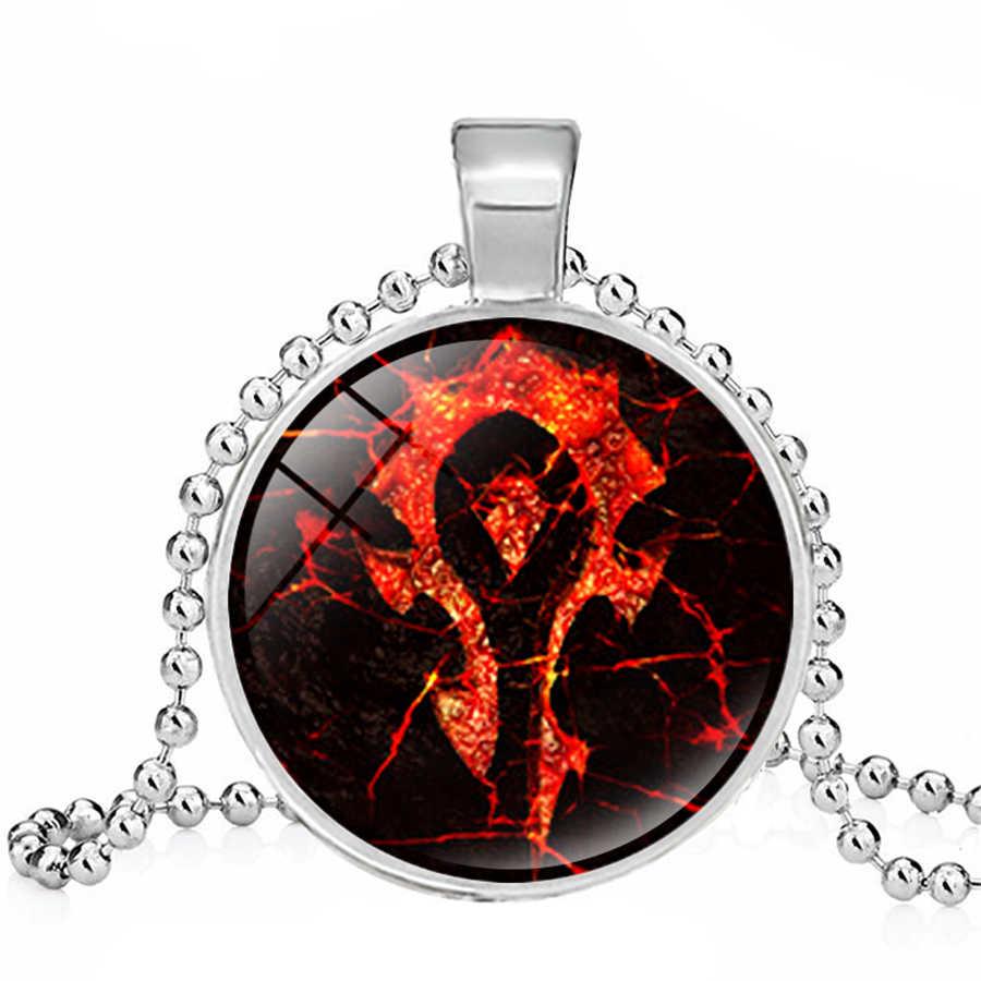 WOW World Of Warcraft Dasar Kaca Bulat Liontin Kalung Charm Perhiasan Hadiah Natal