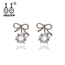 DREJEW Star Butterfly Rhinestone Statement Earrings 2019 Gold Silver 925 Crystal Stud Sets for Women Jewelry HE5611