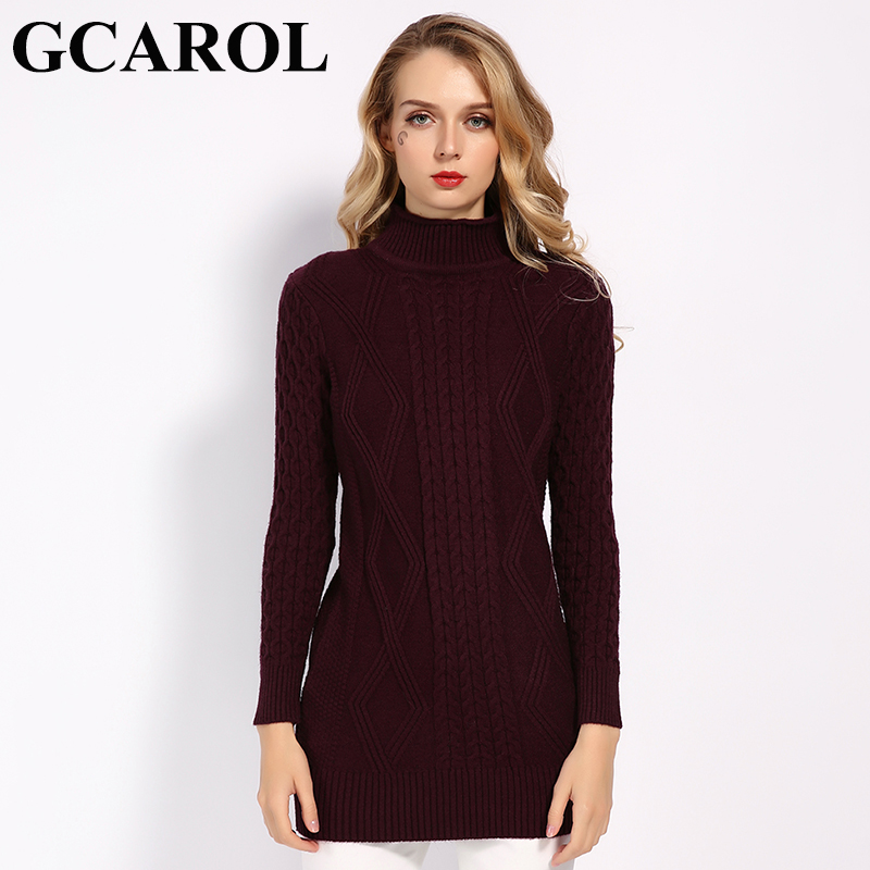 GCAROL 2019 New Fall Winter Twist Floral Long Sweater Stand Collar Women Thick Jumper Warm Knit Pullover S-XL