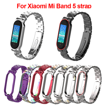 Stainless-Steel Bracelet for Mi-Band 5 Strap Metal Compatible Bracelet Miband 4 Wristband Pulseira Mi band5 smartwatch Pulsera