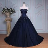 Navy Blue Ball Gown Princess Quinceanera Dresses Girls Beaded Masquerade Sweet 16 Dresses Ball Gowns vestidos de 15 anos