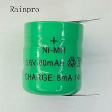 Rainpro 2 pçs/lote 3.6v 80mah ni mh ni mh baterias com pinos recarregável botão pilha bateria para relógio de memória lâmpada gramado