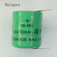Rainpro 2PCS/LOT  3.6V 80mAh NI MH  Ni MH Batteries With Pins  Rechargeable Button Cell Battery for Clock memory lawn lamp
