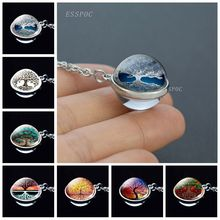Fashion Glass Ball Necklace Tree of Life Double Side Cabochon Pendant Silver Chain Jewelry Gift