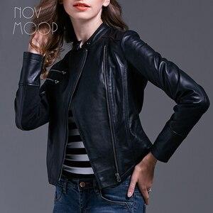 Image 5 - Черная женская кожаная куртка из овчины, узкая мотоциклетная байкерская куртка, пальто, chaqueta mujer jaqueta de couro LT1603