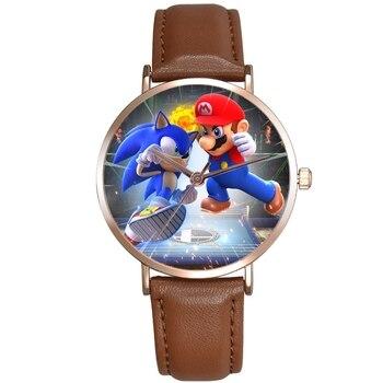 Mario Super Sonic Children's Watches Premium Leather Strap Quartz Wristwatches Watch For Kids Cartoon the Hedgehog - discount item  5% OFF Children's Watches