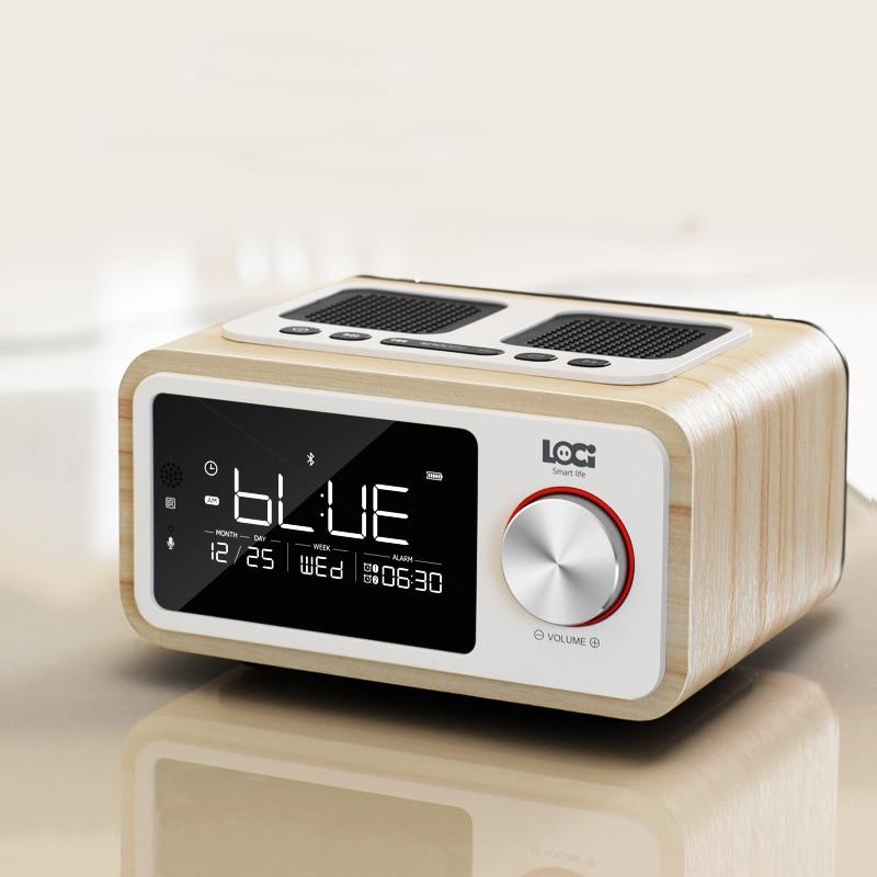 Retro Holz Drahtlose Bluetooth Lautsprecher Kleine Tragbare 6W Hause Led bildschirm FM Radio Wecker Stereo Lautsprecher Bass Subwoofer