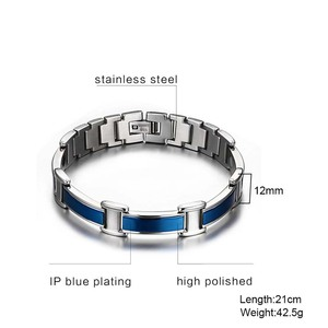 RUIYI HBL17 stainless steel bangle manbracelet  popular bracelet man single steel material 21cm length 42g blue stone