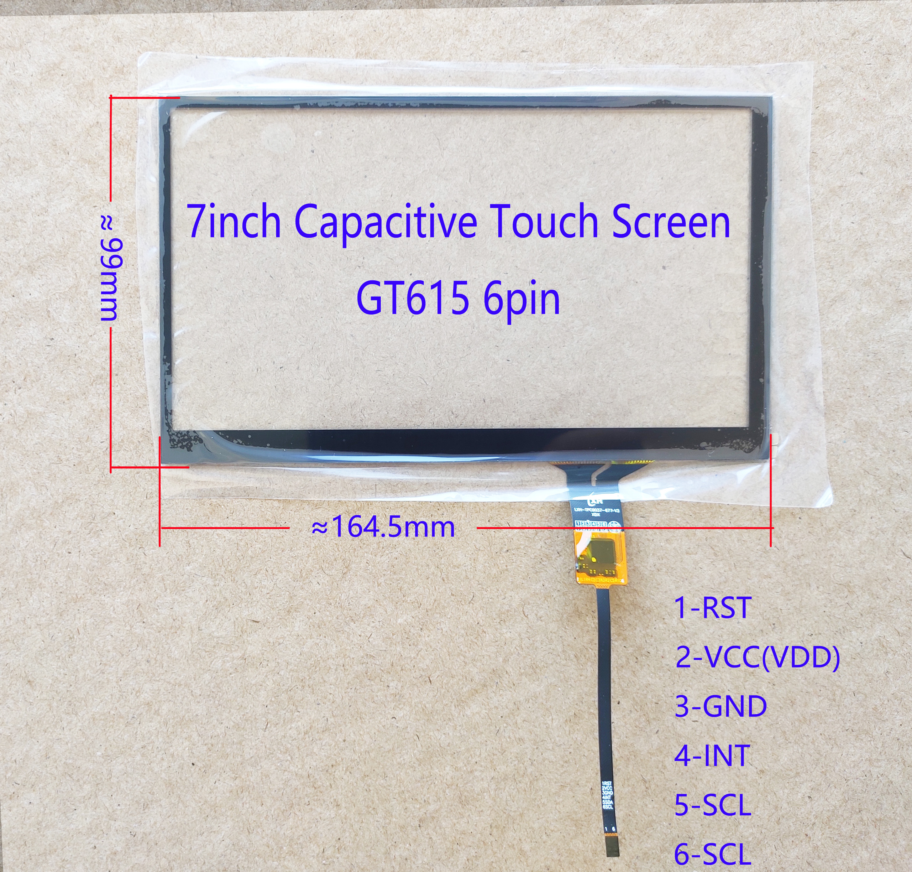 7inch Car Radio Carpc  Capacitive Touch Screen 164*99mm 6pin GT615