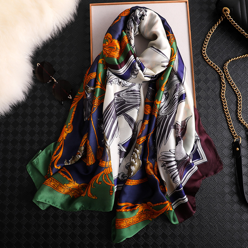 2019 China New Style Spring And Summer Women Pretty Silk Scarves Large Shawl Lady Print Luxury Shawl Beach Muffler Wraps Hijab