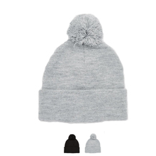 Women Man's Casual Knitting Warm Hats Winter Skull Caps with Hair ball 2 Colors