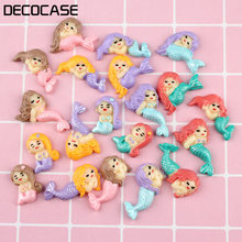 Kuutti 30pcs Cute Mermaid Colorful Slime Charms Beads Headwear Flatback Crafts Ornaments Decoration Phone Case DIY Accessories(China)