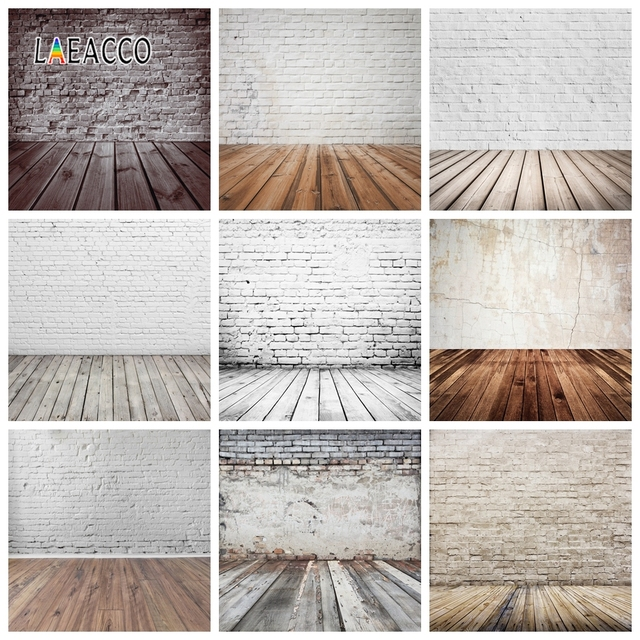 Laeacco Brick Wall Wooden Floor Photophone Photocall Grunge Portrait Baby Newborn Photography Backdrops Photo Backgrounds Props