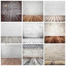 Laeacco 벽돌 벽 나무 바닥 Photophone Photocall Grunge 초상화 아기 신생아 사진 배경 사진 배경 소품