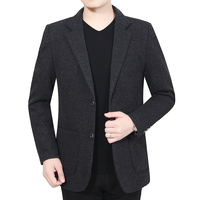 Winter Autumn Men Elegant Tweed Blazer Smart Business Casual Suit Jacket Man Notched Collar Design Gray Blazers Blend Coat Male