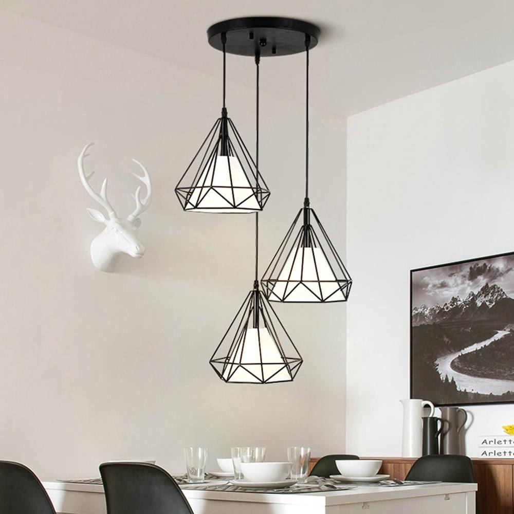 3Heads Iron Painted Industrial Lamp E27 Diamond Lights LED Pendant Lights For Living Room Kitchen Modern Black Cage