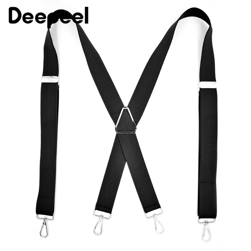 Deepeel 1pc 3.5X120cm Adult 4 Clip Metal Buckles Men Suspenders Adjustable Suit Snap Hook Suspenders Clothing Accessories SP024