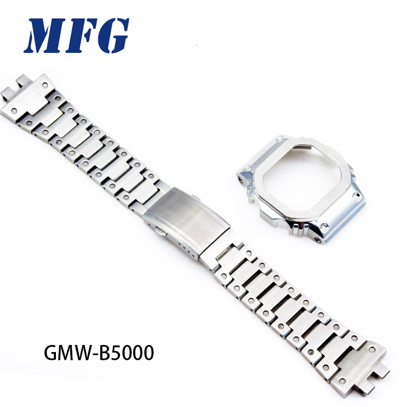 GMW-B5000 watch band bezel 316L stainless steel case watchband metal strap steel belt tools silver gold black for men/women gift image