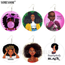 SOMESOOR Jewelry Black Art African Natural Hair Braiding & Styles Wooden Both Sides Print Round Earrings For Women Gifts