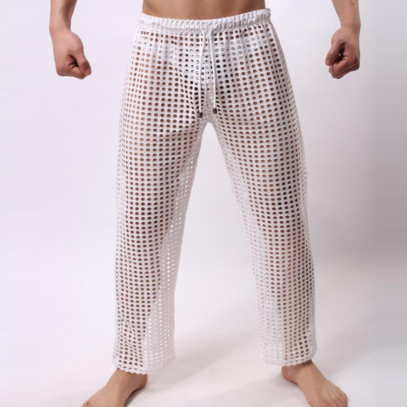 Mens Pyjama Bottoms Sexy See Through Transparent Pajama Pants Men's Pajamas Breathable Mesh Sleep Pants Gay Lingerie Underwear