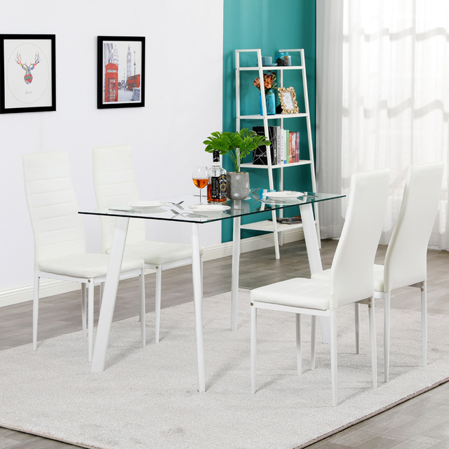 5 Piece White Dining Table Set  6
