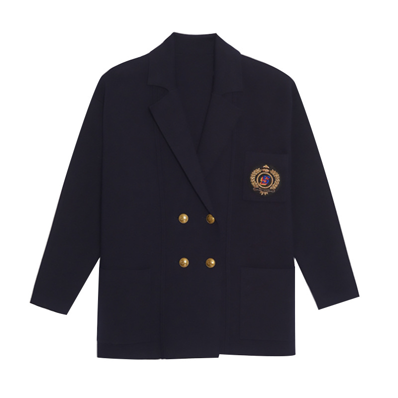 Women's Metal Buckle Lapel Suit Jacket Knitted Jacket For Spring And Summer 2020