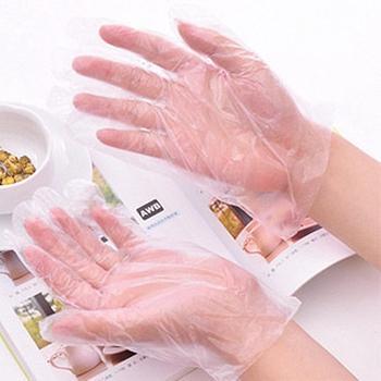 100 szt PE jednorazowe rękawice do kuchni na grilla wielofunkcyjne przezroczyste rękawice sanitarne plastikowe rękawice do zmywania naczyń tanie i dobre opinie Oddzielone palce Poliestru i nylonu Unisex