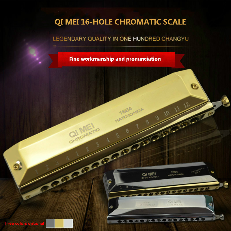 Chromatic Harmonica 16 Hole 64 Tone Mouth Organ Instrumentos Key Of C Professional Musical Instruments ABS Comb Qimei 1664