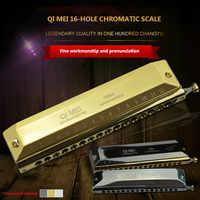 Armónica cromática 16 agujeros 64 tonos boca órgano Instrumentos clave de C Instrumentos musicales profesionales ABS peine Qimei 1664