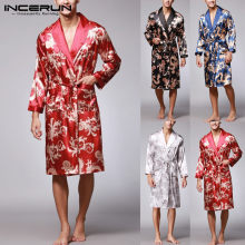 Ethnic Mens Robe Long Sleeves Bathrobe Silk Kimono Chinese Lucky Dragon Print Pajamas Bathrobe Night Dressing Gown Masculina(China)