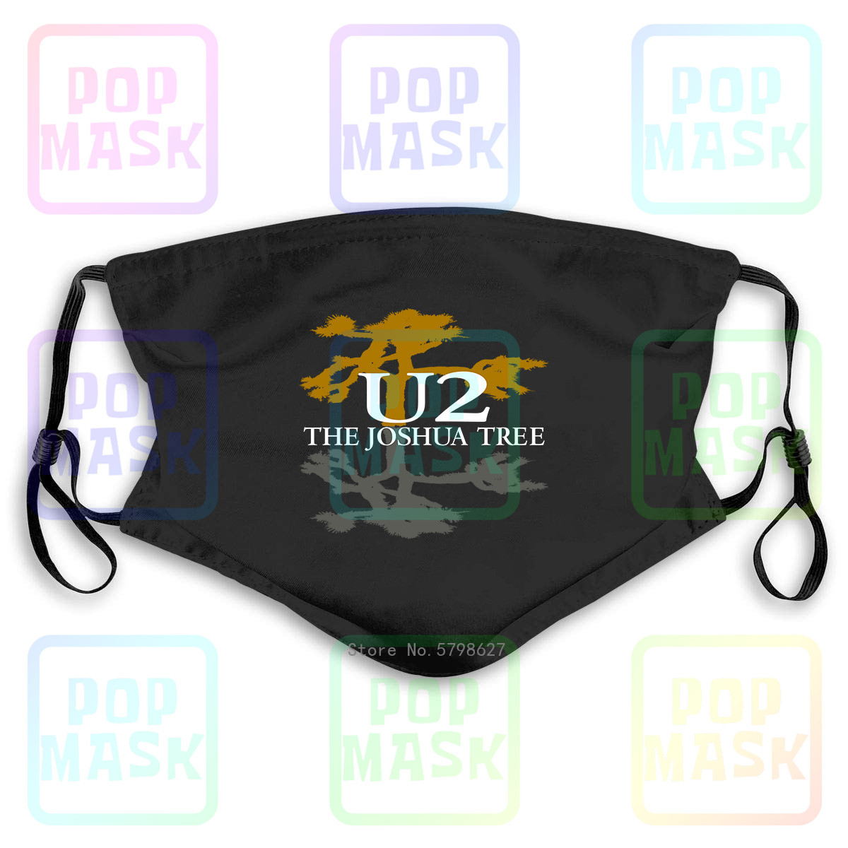 Joshua Tree The U2 Rock For Washable Reusable Mask With 2Pcs PM2.5 Filters 5 Layers