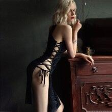 Kadın seksi iç çamaşırı kadife gecelik derin V dantel yan açık bölünmüş pijama Lingerie gecelik kıyafeti gecelik ev giysileri