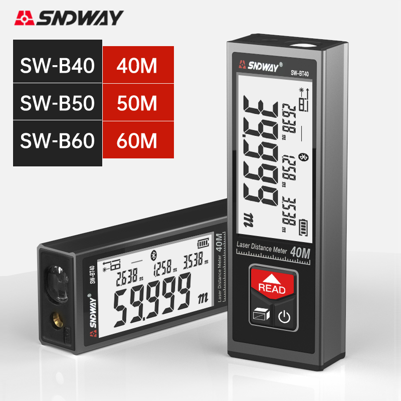 Лазер SNDWAY дальномер портативный лазерный дальномер 40 м 50 м 60 м сегментный ЖК цифровой дисплей электронная лазерная рулетка