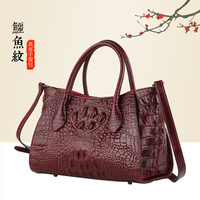 Top Quality Genuine Leather Messenger Bag Shoulder Top Handle Bags Crocodile Pattern Women Cowhide Cross Body Tote Handbag